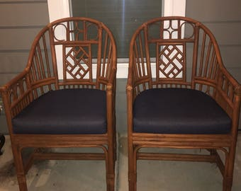 Pair of rattan chinese chippendale brighton like chairs