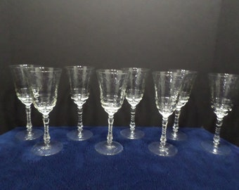 Vintage Crystal Wine Glasses Stemware with etched floral design six sided star on the bottom set of eight