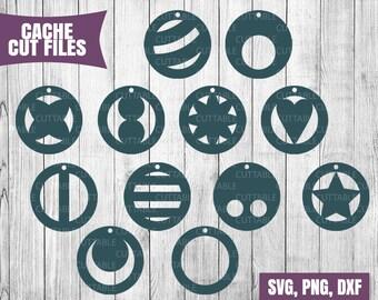 Circular earring cut files, Drop earring Circle SVG cutting files, cricut, faux leather jewellery making, 12 geometric circle drop earrings
