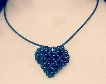 Bead Heart Pendant Necklace