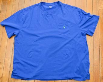 Plain Polo Ralph Lauren-  2XB  - Blue - Single Stitch - 90's - T Shirt Gift