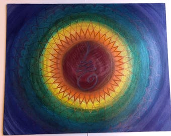 """16""""x20"""" custom, hand painted, chakra mandala in rainbow colors with the Buddhist symbol for """"the journey to enlightenment"""" - Original art"""