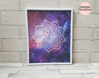 Mandala Print, Galaxy, Zen Art, Relaxation Meditation Wall Art, Yoga Inspired Gift, Home Decor, Multiple Sizes, Instant Download Printable