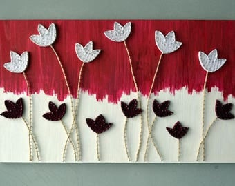 String Art Flower 3d Flower Wall Art Woodcraft Floral Wood Art Woodland Floral Art Master Bedroom Art Oversized Wall Art 3d Wall Flower
