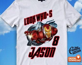 Iron Man Iron On Transfer, Iron Man Birthday Shirt DIY, Iron Man Shirt Designs, Iron Man Printable, Iron Man, Personalize, Digital Files