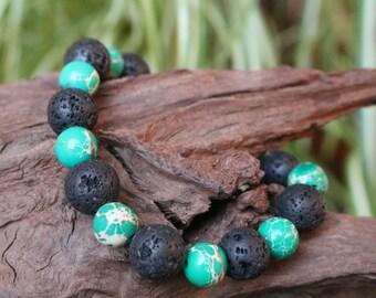 Black and green bracelet, black lava stone and Jasper beads green Aqua Terra
