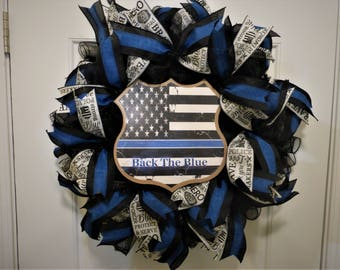 Thin Blue Line Wreath, Back the Blue Wreath, Police Support Wreath, Police Badge Wreath, Front Door Decor