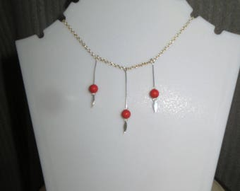 three coral beads with dangles necklace