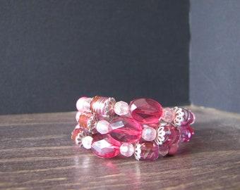 Pink memory Wire Bracelet / Memory wire bracelet Pink