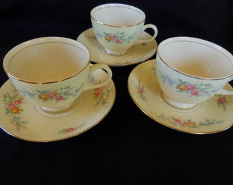 Vintage Cup and Saucers Set of Three/Homer Laughlin/ Nautilus Ferndale Pattern/ Eggshell China