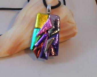 Dichroic art glass fused pendant
