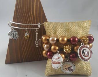 Team bracelet stacks- FSU Seminoles
