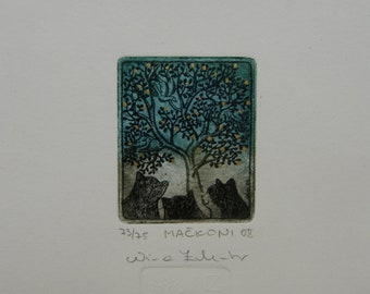 Tomcats, original etching, limited edition