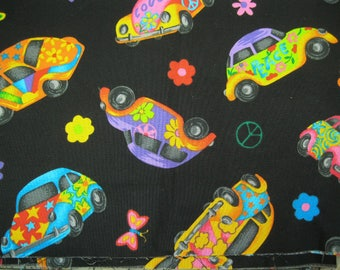 """Cotton Quilting Fabric - """"Hippie Cars"""""""