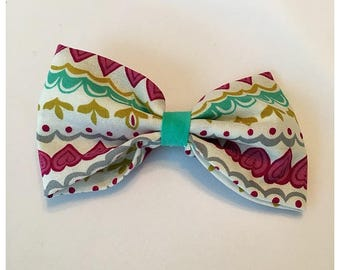 Heart Pattern Aztec Hairbow, Hairbow, Spring Time Aztec Hairbow, Multi-color Aztec Hairbow, Bows, Bowtie, SozBows