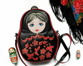 Leather Rucksack, Matryoshka, Leather Backpack, Nesting Doll, Leather Shoulder Bag, Russian Doll, Russian Matryoshka, Leather Matryoshka