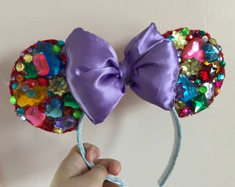 Rainbow Rhinestone Minnie Ears
