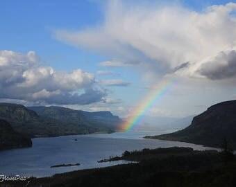 Columbia River Gorge Oregon rainbow Photo Print
