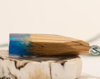Shining blue  wood and resin pendant