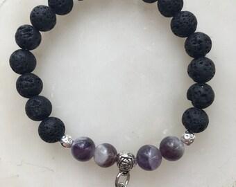 Black Lava And Ameythest Gemstone Aromatherapy Bracelet
