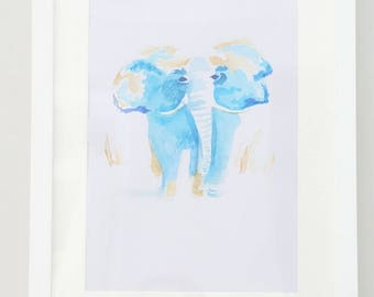 Baby Elephant in Blue - a watercolour
