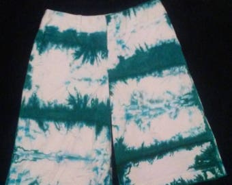 Blue and Green Tie Dye Shorts