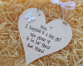 Personalised Mother Daughter Friendship Wooden Heart Plaque Keepsake Gift