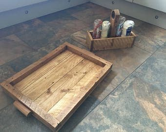 Rustic tray and condiment holder