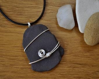 Wire wrapped slate pebble pendant