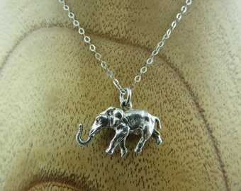 Royal Elephant 3D Lucky Charm Pendant Necklace in 935 Sterling Silver