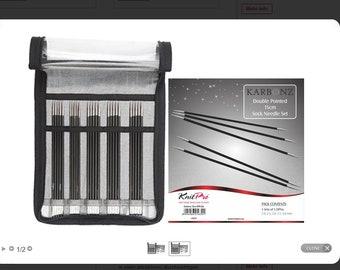KnitPro KARBONZ Knitting needle set 20 cm carbon stocking needles 41615