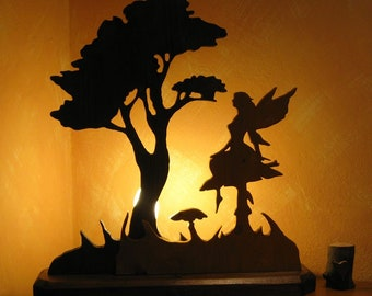 Table lamp, fairies, lamps, lighting,, home furnishings, gift ideas, furniture, gifts, wood, birthdays, wedding, fantasy