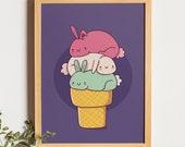 Rabbit Print Wall Art, Nursery Animal Decor, Kids Wall Art, Digital Download, Cute Bunny, Woodland Baby Shower, Bunny, Ice Cream Bunny,
