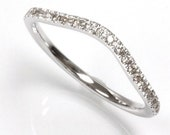 0.12 ct tw Natural Diamond (H-I, SI3) Gold or Sterling Silver Curved Wedding Band Ring