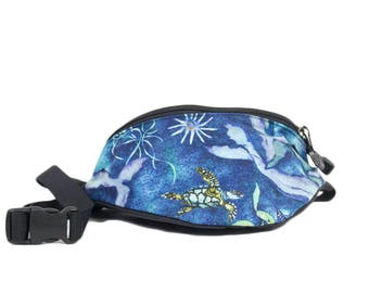 Fanny pack Open Ocean Sea Creature Turtle fabric - Cute  - Hip Bag for travel, sport, and hiking