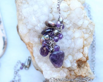 Long Necklace : Purple cluster of amethyst & freshwater pearls