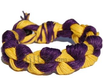 Wide yellow and purple hemp chain bracelet or anklet