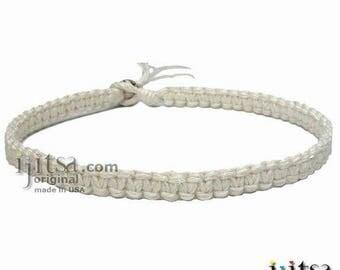 White Hemp Flat Wide Surfer Style Choker Necklace