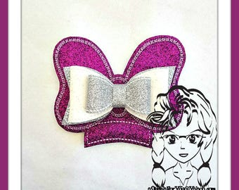 BOW Dbl Folded & Flat Center (Add On ~ 2 Pc) Mr Ms Mouse Ears Headband ~ In the Hoop ~ Downloadable DiGiTaL Machine Emb Design by Carrie