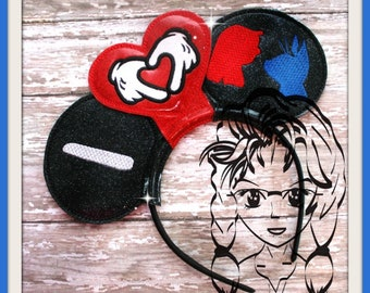 I HEART Hands Hawaiian GIRL Alien (3 Piece) Mr Miss Mouse Ears Headband ~ In the Hoop ~ Downloadable DiGiTaL Machine Emb Design by Carrie
