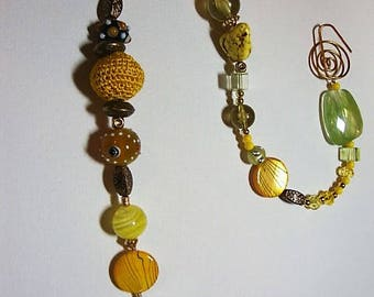 Suncatcher, Yard Art, YELLOW and BLACK / GREEN Vintage decor, Glass beads, Crystals, original, one of a kind, vintage beads