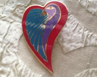 DOVE HEART Brooch Laurel Burch Pin Heart Cloisonné Art Jewelry Signed Red Turquoise Purple Lilac