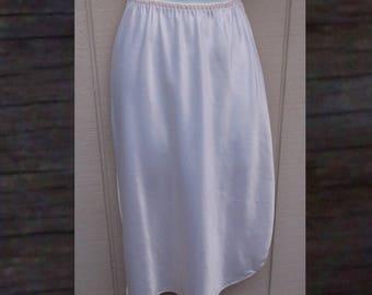 70s to 80s White Satin Half Slip / Vintage Wendy Rose Skirt Slip // Size Med - Lge