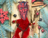 Red Krampus Vintage Style Chenille Christmas Ornament | Christmas Devil | Feather Tree | Ornament | Gift