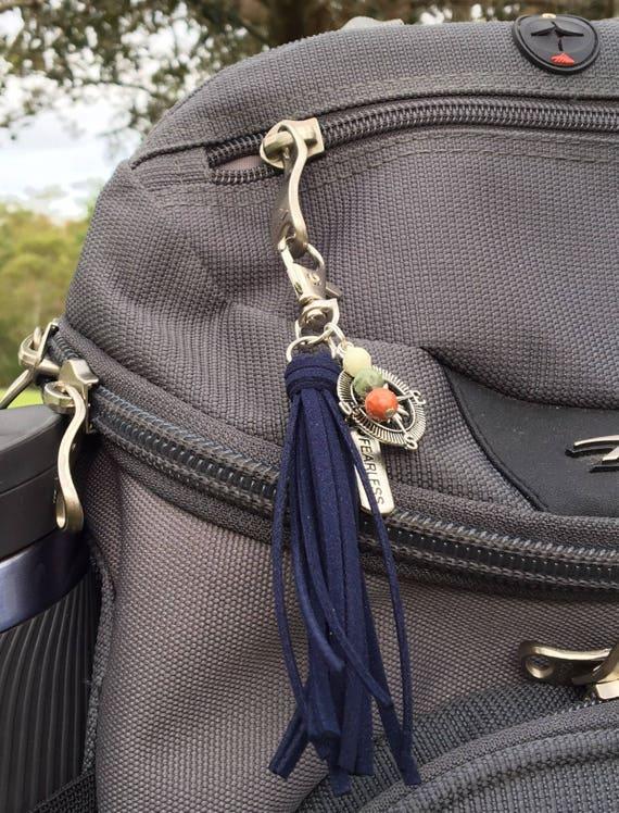 "Wanderlust Bag Charm or Keychain, Travel Adventure Gift Under 25 - 3.5"" Small Tassel Choose Color - Outdoor Explorer, Compass (ST113)"