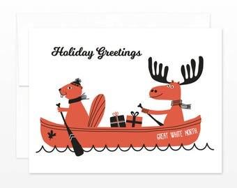 Great White North Canada Christmas Card - Canada Holiday Greetings Card - Canoe, Moose, Beaver, Canada greeting card, Funny Christmas Card