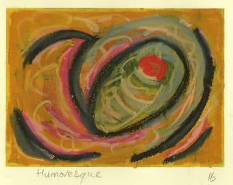 Humoresque - mixed media - oil pastel over monoprint in ochre, green, black, pink and red.