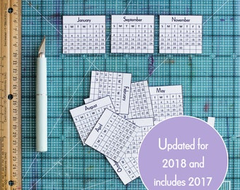 2017 2018 Mini Calendars for Crafts & Planners, Mini Monthly Calendar, Digital Download Printable, Instant Download, 2018 Calendar PDF