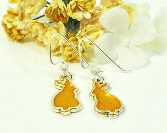 Yellow Bunny Earrings Marigold - Cute Bunny - Pet Bunny Rabbit - Bunny Jewelry - Nature Lover Gift - Rabbit Earrings - Woodland Animal