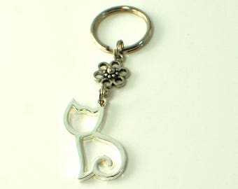Cat Keychain Simon Flower - Kitty Accessory - Silver Cat Key ring - Cat Silhouette - Kitty Cat -Kitty Keychain -Gift for Her -Cat Lover Gift